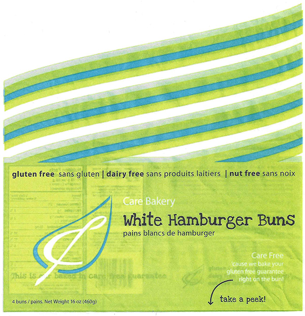 Care Bakery White Hamburger Buns - 4 buns
