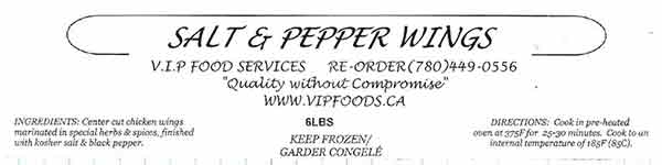 V.I.P. Food Services - Salt & Pepper Wings - 6 pounds