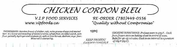 V.I.P. Food Services - Chicken Cordon Bleu - 12 pieces