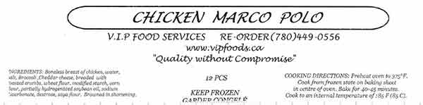V.I.P. Food Services - Chicken Marco Polo - 12 pieces