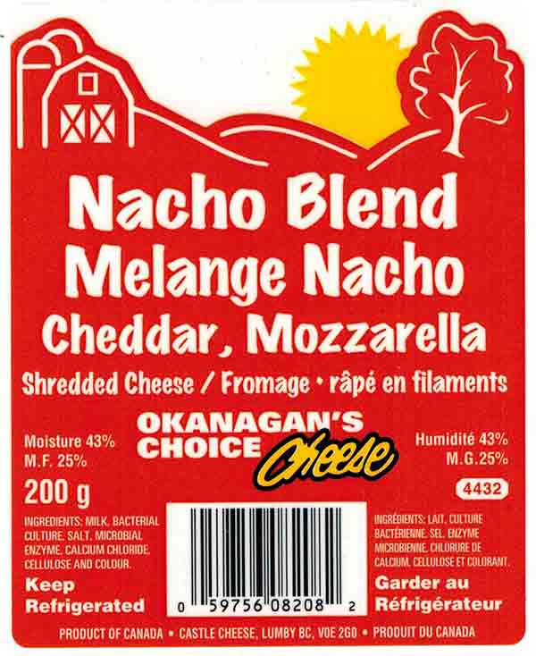 Okanagan's Choice Cheese Nacho Blend - Cheddar, Mozzarella Shredded Cheese - 200 g
