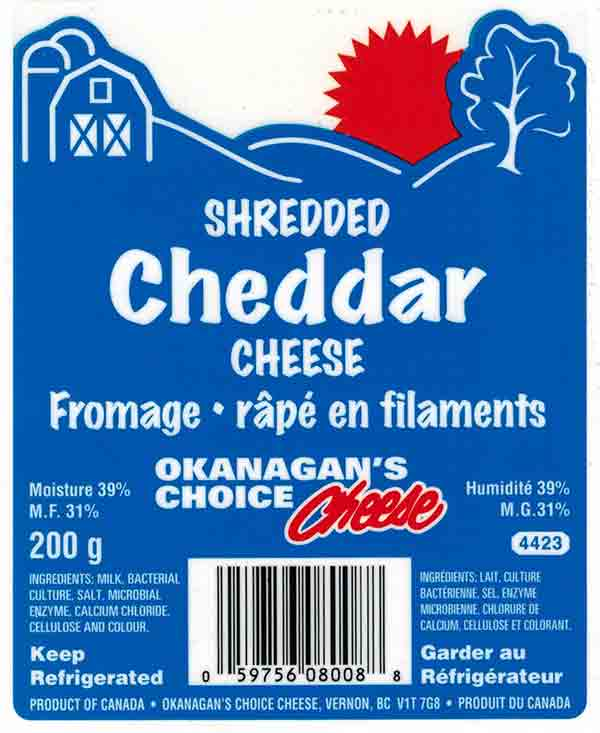 Okanagan's Choice Cheese Shredded Cheddar Cheese - 200 g
