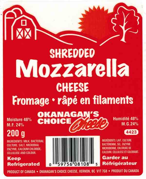 Okanagan's Choice Cheese Shredded Mozzarella Cheese - 200 g