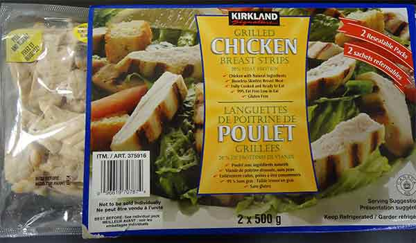 Kirkland Signature: Grilled Chicken Breast Strips - 2 x 500 grams