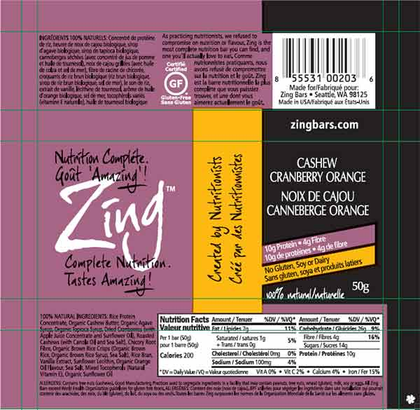 Zing: Cashew Cranberry Orange - 50 grams