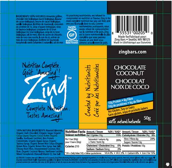 Zing: Chocolate Coconut - 50 grams