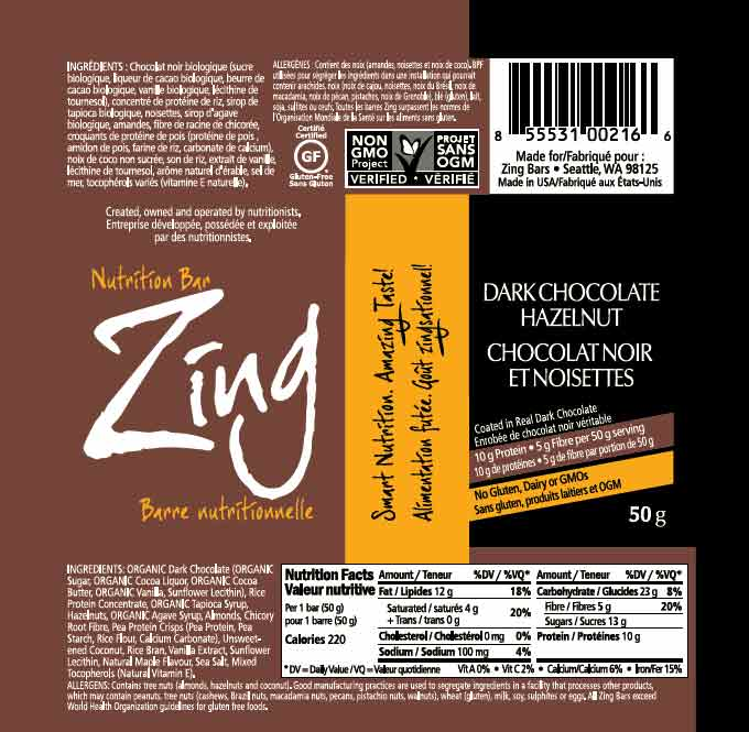Zing: Dark Chocolate Hazelnut - 50 grams