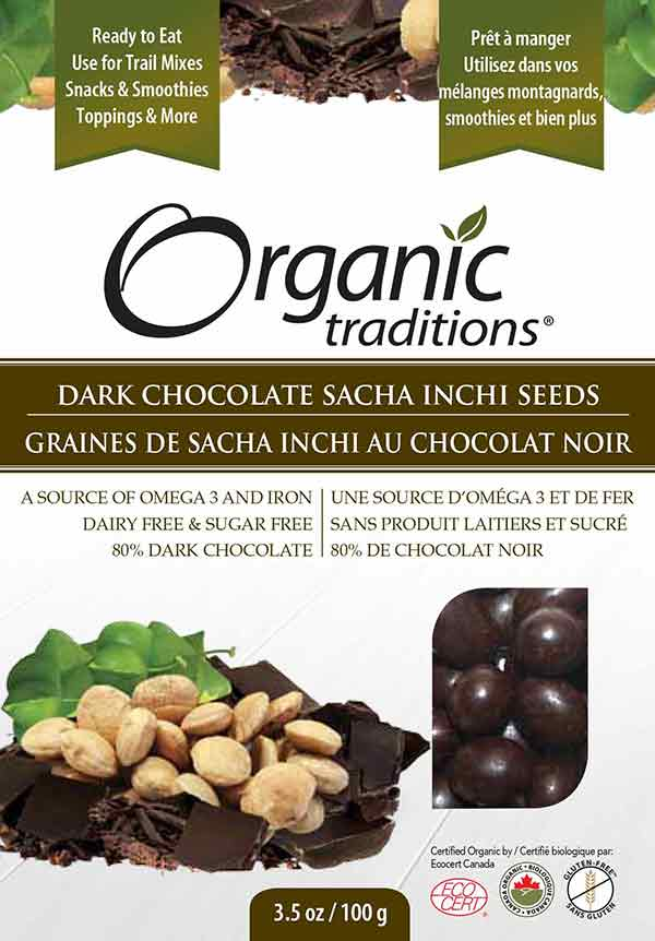 Organic Traditions: Dark Chocolate Sacha Inchi Seeds - 100 grams