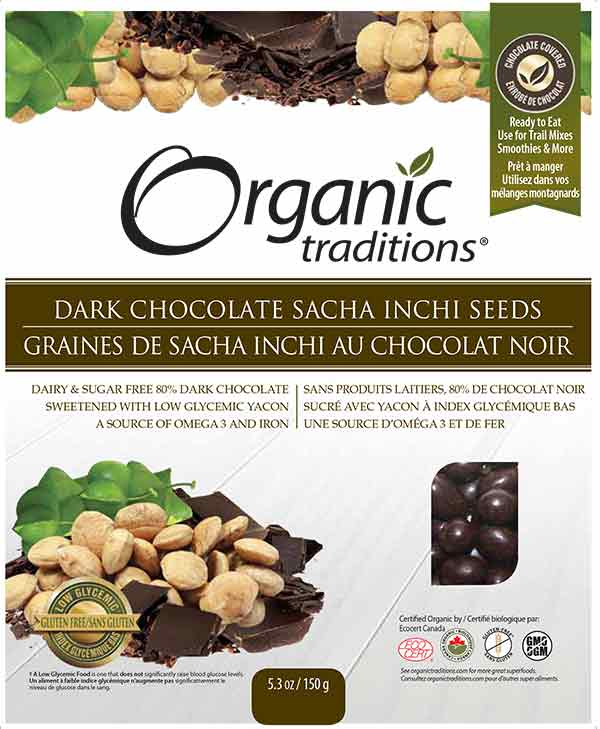 Organic Traditions: Dark Chocolate Sacha Inchi Seeds - 150 grams