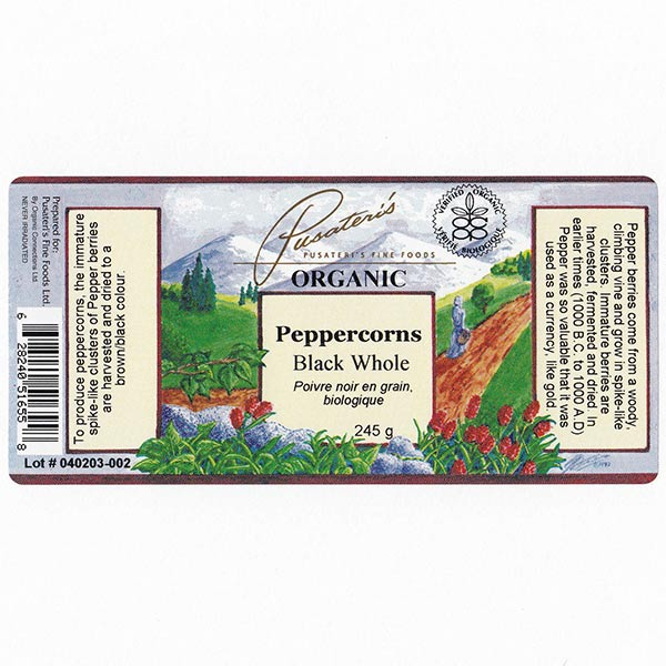 Organic Whole Black Peppercorns - 245 g
