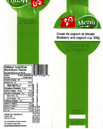 Menu brand Blueberry and yogourt cup – 300 grams