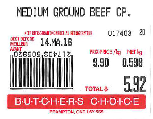 « Medium Ground Beef CP.  » - Format variable