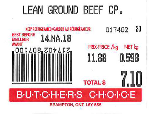 « Lean Ground Beef CP.  » - Format variable