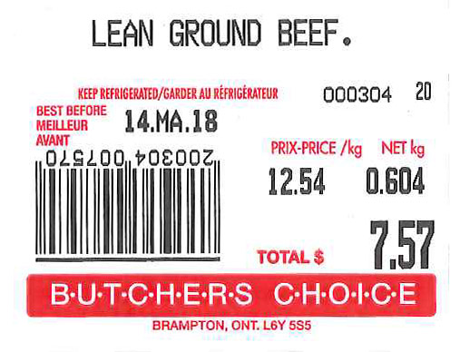 « Lean Ground Beef » - Format variable