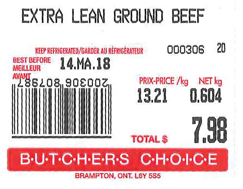 « Extra Lean Ground Beef » - Format variable