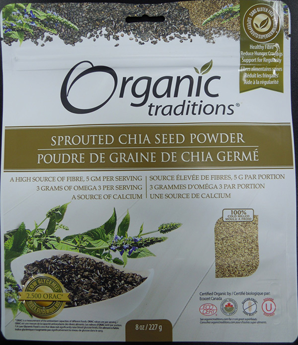 Orgramsanic Traditions - Sprouted Chia Seed Powder - 227 grams