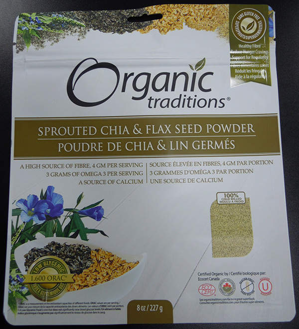 Orgramsanic Traditions - Sprouted Chia and Flax Seed Powder - 227 grams