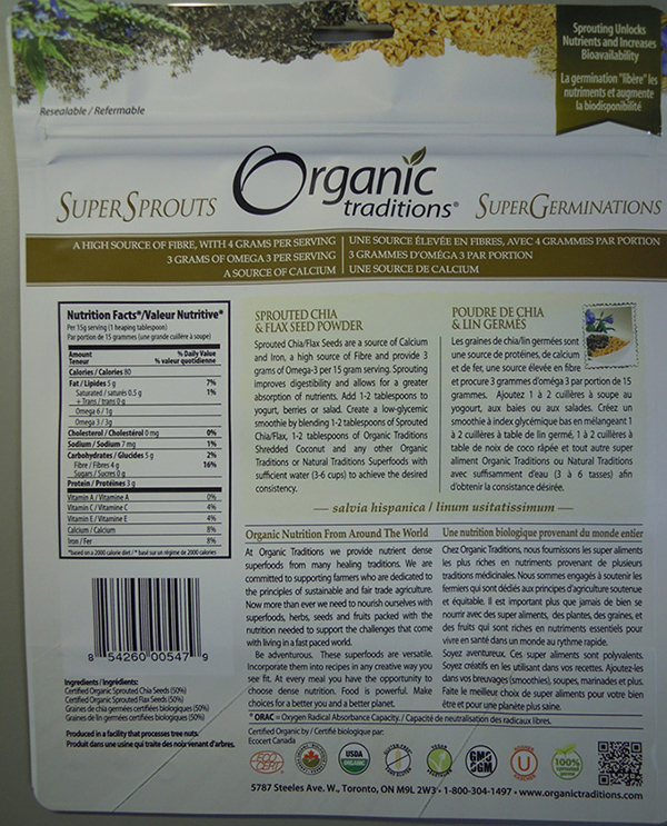 Orgramsanic Traditions - Sprouted Chia and Flax Seed Powder