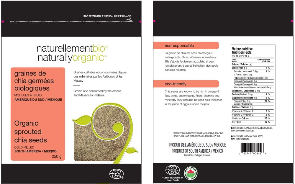 Naturallyorganic	- Organic sprouted chia seeds cold milled