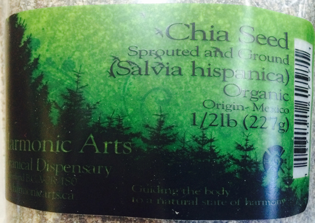 Harmonic Arts Botanical Dispensary - Chia Seed Sprouted and Ground (Salvia hispanica) Organic (227 grams)