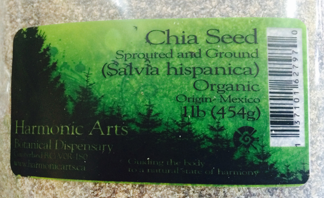 Harmonic Arts Botanical Dispensary - Chia Seed Sprouted and Ground (Salvia hispanica) Organic (454 grammes)