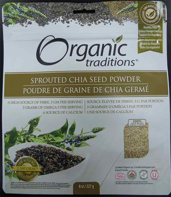 Organic Traditions: Sprouted Chia Seed Powder - 227 grams