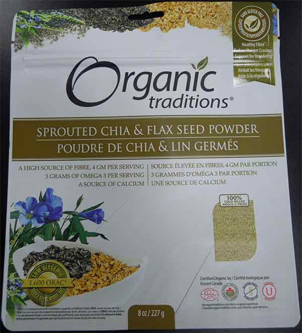 Organic Traditions: Sprouted Chia and Flax Seed Powder - 227 grams