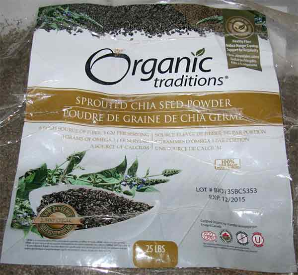 Organic Traditions: Sprouted Chia Seed Powder - 25 pounds