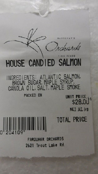 House Candied Salmon - label