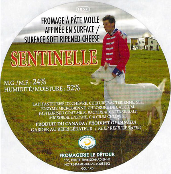 Sentinelle - surface ripened soft cheese (label)