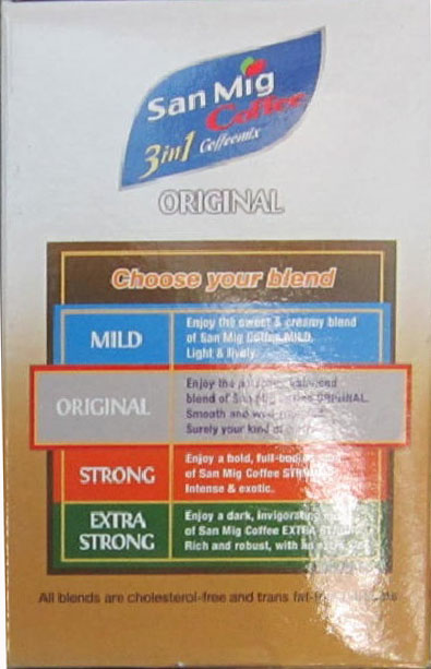 San Mig - 3 in 1 Coffeemix - 140 grams (side of the box)