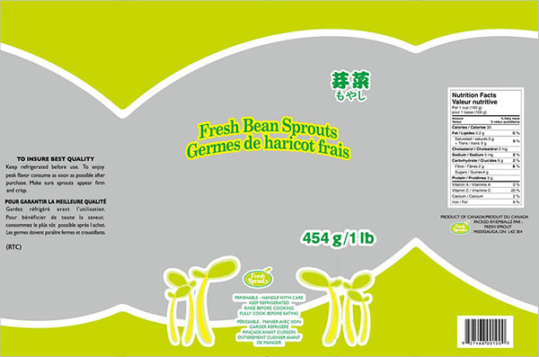 Fresh Sprouts brand Fresh Bean Sprouts - Label