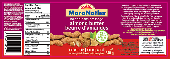 MaraNatha brand no stir almond butter - crunchy no hydrogenated oils - 340 g