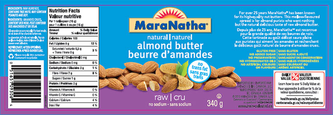 MaraNatha brand natural almond butter - raw no sodium - 340 g