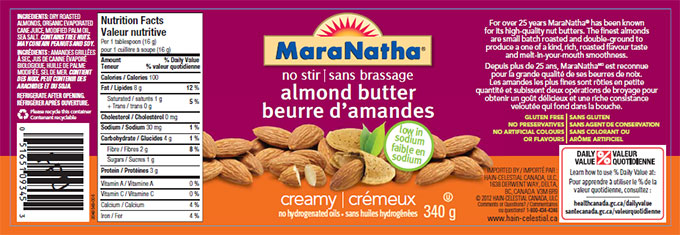 MaraNatha brand no stir almond butter - creamy no hydrogenated oils - 340 g