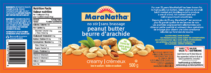 MaraNatha brand no stir peanut butter - creamy low in sodium - 500 g