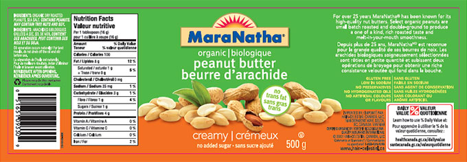 MaraNatha brand organic peanut butter - creamy no added sugar - 500 g