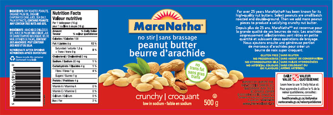 MaraNatha brand no stir peanut butter - crunchy low in sodium - 500 g