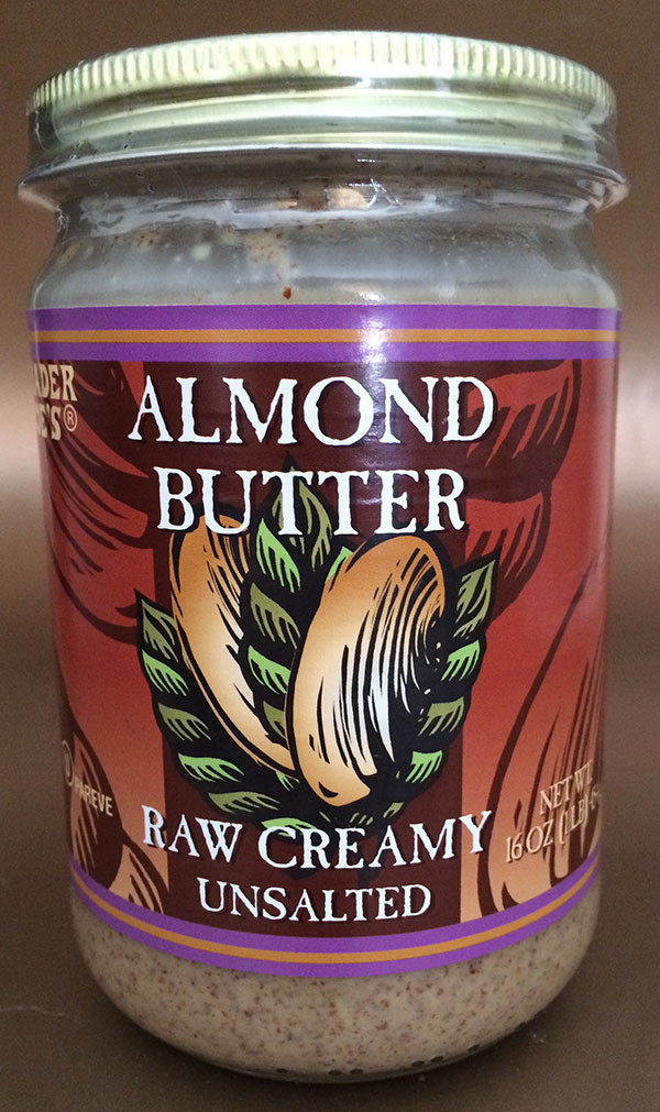 Trader Joe's brand Almond Butter - Raw Creamy Unsalted - 454 g