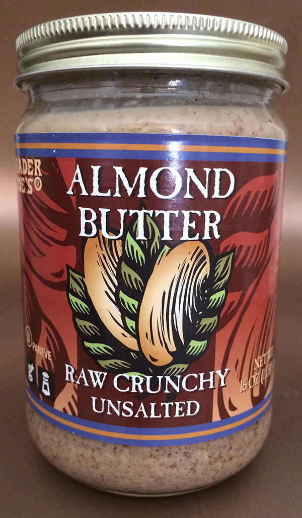 Trader Joe's brand Almond Butter - Raw Crunchy Unsalted - 454 g