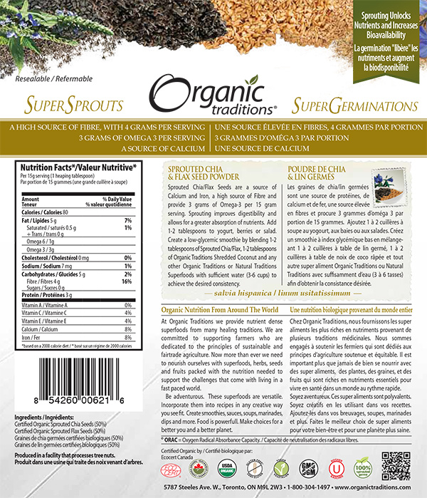 Organic Traditions: Sprouted Chia & Flax Seed Powder - 227 grams
