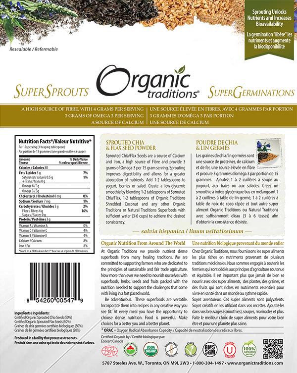 Organic Traditions: Sprouted Chia & Flax Seed Powder - 454 grams
