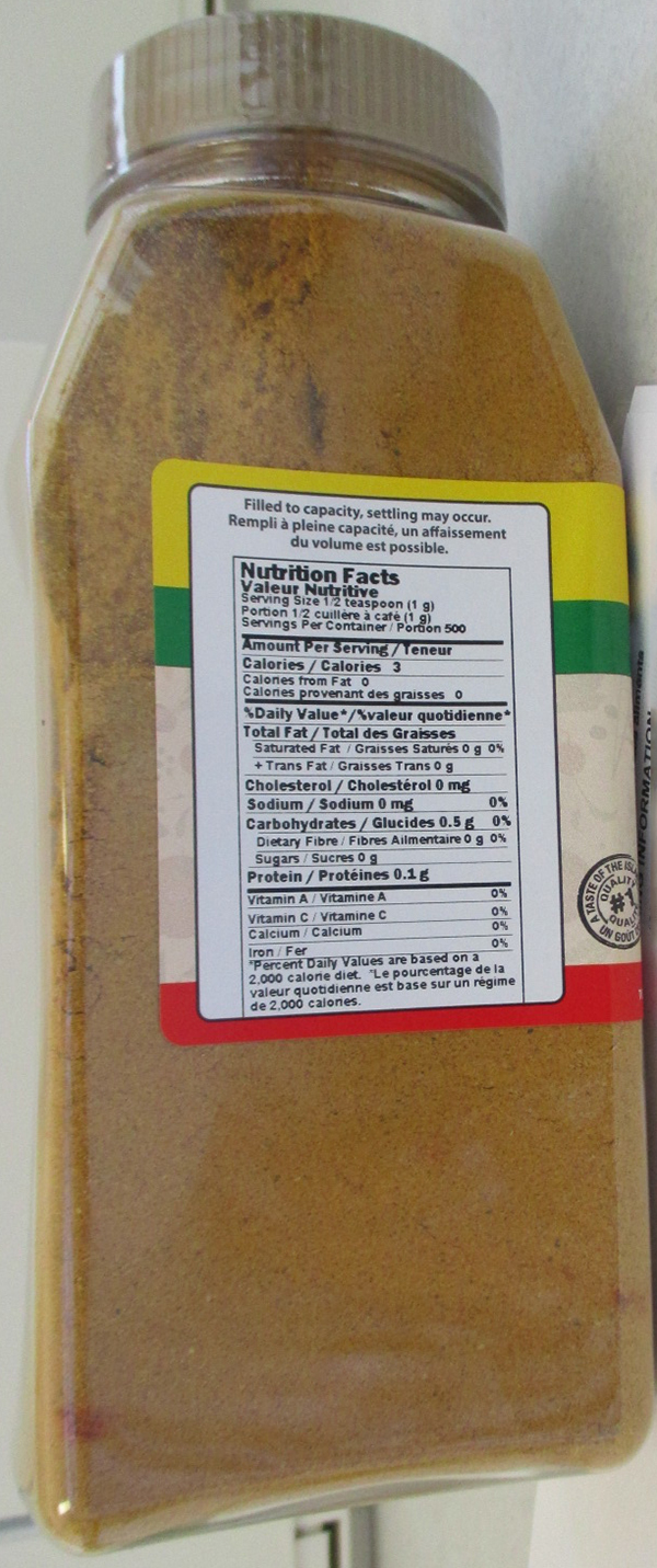 Cool Runnings - Jamaican Style Curry Powder - 500 grams (Nutrition Facts)