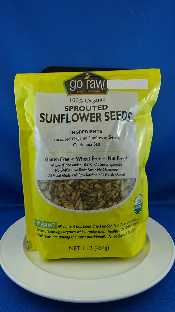 Go Raw - 100% Organic Sprouted Sunflower Seeds - 454 grams (front of the package)