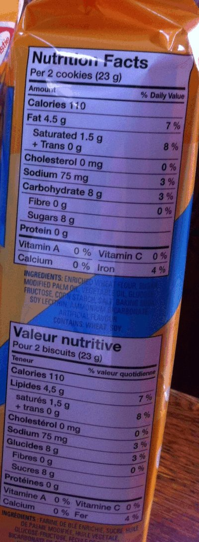 Christie brand Golden Oreo Cookies - Nutrition Facts