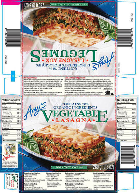 Amy's brand Vegetable Lasagna - 269 g