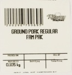 « Ground Pork Regular Fam Pak » de marque Killarney Market