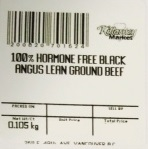 « 100% Hormone Free Black Angus Lean Ground Beef » de marque Killarney Market