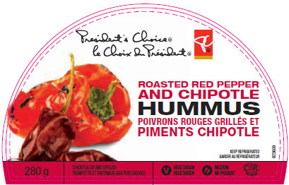President's Choice brand Roasted Red Pepper and Chipotle Hummus - 280 g