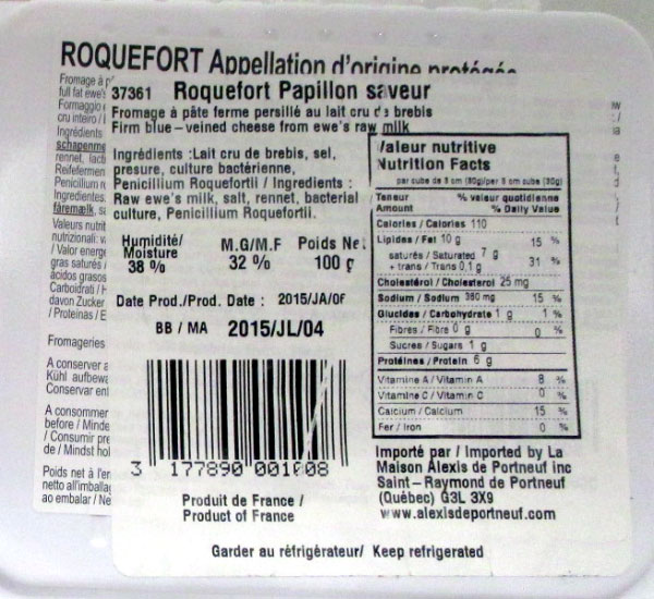 Papillon brand Roquefort cheese - 100 grams